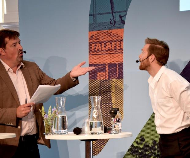 Marcus Klasson, Lunds Universitet, och Johan Wester, Komiker, på Almedalsveckan 2016